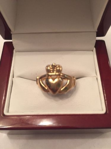 14KT YELLOW GOLD GENUINE HAND MADE CLADDAGH DESIGN BAND CROWN RING SIZE 5 #30077
