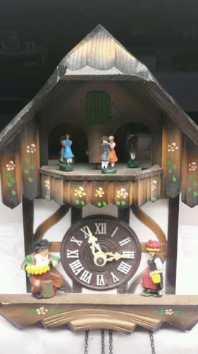 Cuckoo Clock Edelweiss Blue Daube Switzerland No Weights/Pendulum