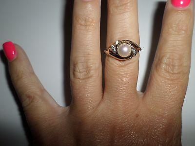 14k Gold Diamond Pearl Dinner Ring Free-Shipping