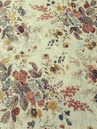 Vintage Multicolor Floral Cotton Fabric 4 Yards 44