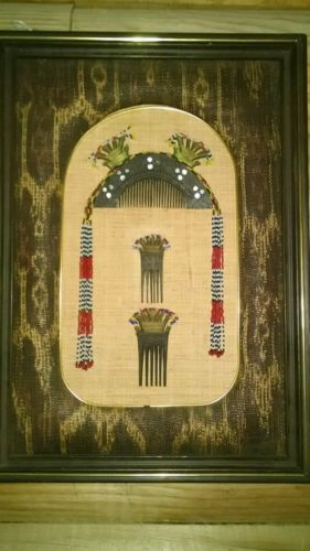 Antique tribal beaded hair comb set display