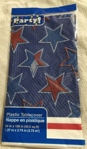 Red, White & Blue Stars Plastic Table Cover 54