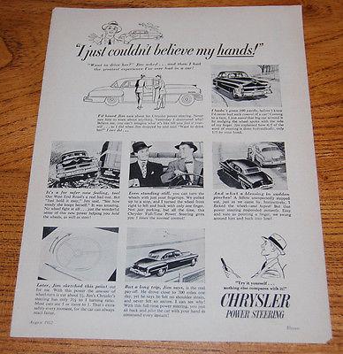 Chrysler Power Steering 1952 Original Vintage Magazine Ad 1950s classic car ad