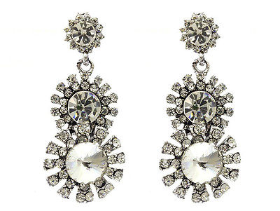NEW Designer Style Crystal Post Pin Metal Earring 2363 - ANTIQUED SILVER/CLEAR