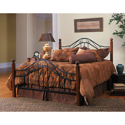 Wood And Iron Bed Frame Queen Headboard Footboard Walnut Finished Metal Grills