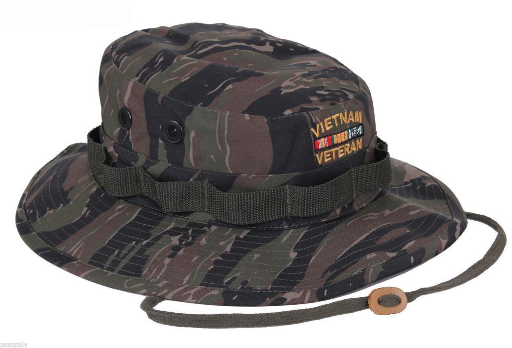 BLACK Deluxe Vietnam Veteran's Custom Embroidered Military Style Boonie Hat 5938