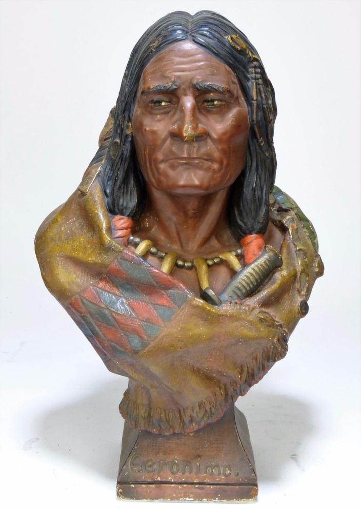 Amazing 1901 GERONIMO Cigar Store Indian signed Chalkware Plaster The Baily Co.