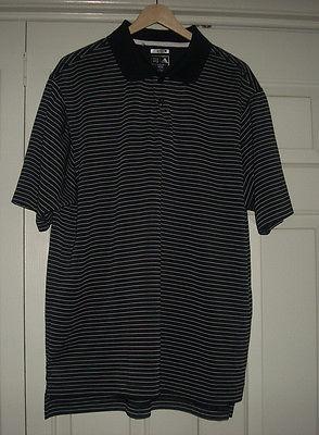 Men's ADIDAS ClimaLite Black & White Striped S/S Golf Shirt Sz L