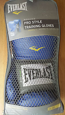 NEW-Blue Boxing Gloves by Everlast 16oz and 2 Pro Style Hand Wraps