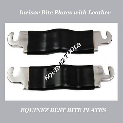EQUINE DENTAL LONG INCISOR BITE PLATES WITH LEATHER