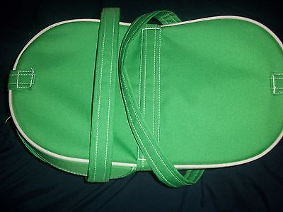 Green Insulated Picnic Vinyl Canvas Container Basket 16 x 9 x 8  Collapsable #5