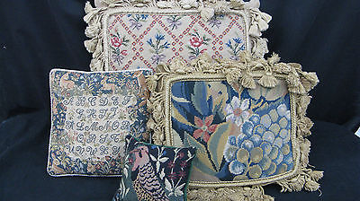 4 VINTAGE HAND STITCHED NEEDLEPOINT TAPESTRY PILLOWS CUSHIONS  VGC