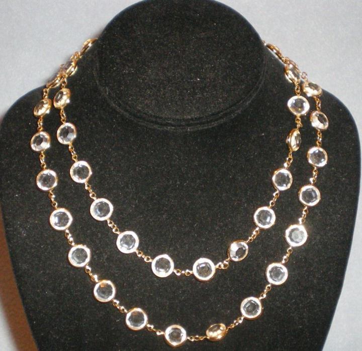 Swarovski Gold Toned Necklace Clear Cased Bezel Set Crystals