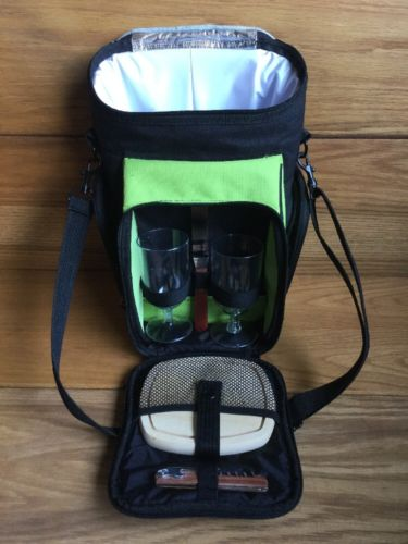 Picnic at Ascot: Insulated Carry Travel Bag, Service for 2 Wine Cheese Board set