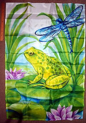 YARD OUTDOOR FLAG BANNER FROG LILY PAD DRAGONFLY BLUE GREEN  25x38 LARGE