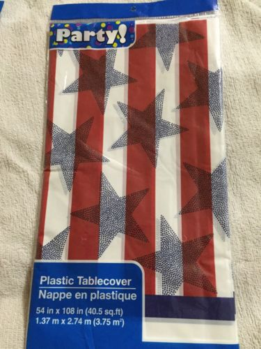 Red, White & Blue Stripes And Stars Plastic Table Cover 54