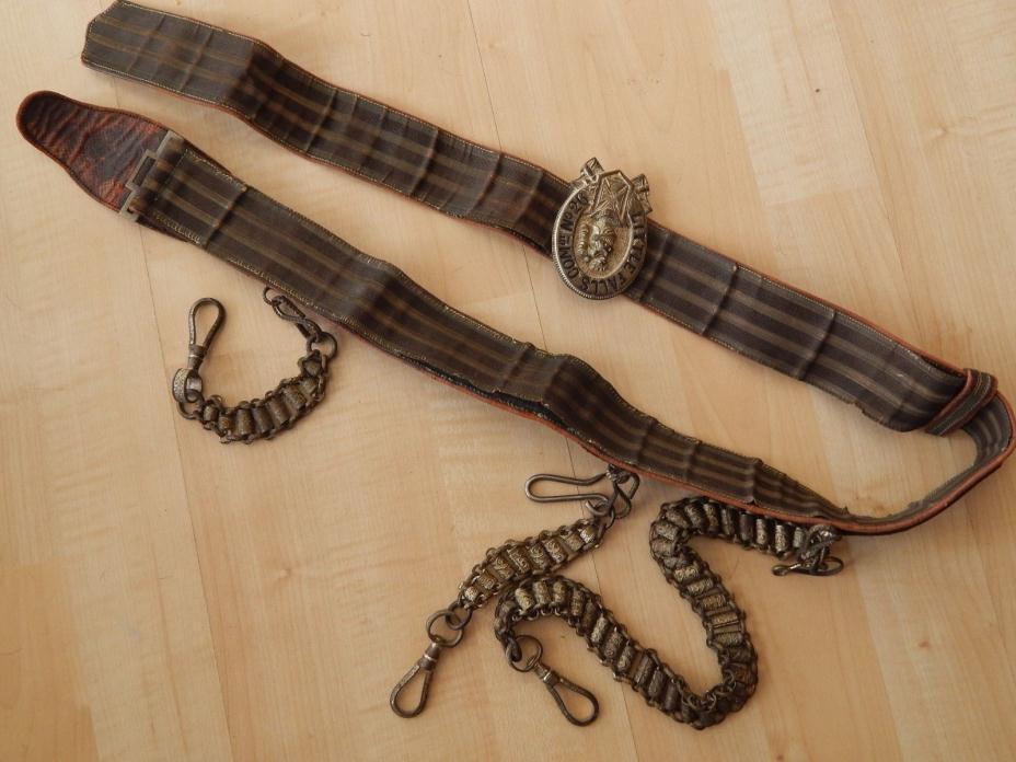 Antique Masonic Templar Belt Buckle Gold 3 Sword Chain NY Little Falls 26