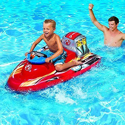 Banzai Motorized Inflatable Speed Boat with Water Blaster