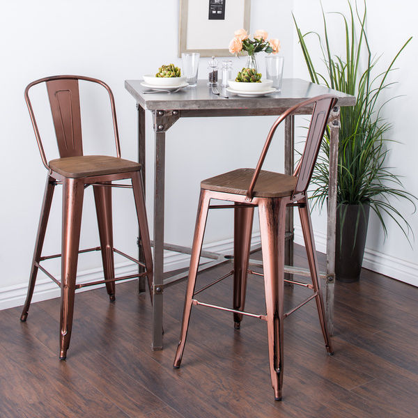 Rustic Bar Stools Set of 2 Industrial Wood Metal Kitchen Counter Height 30 Stool