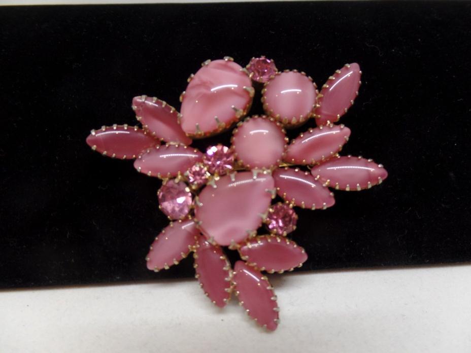 JULIANA Vintage Pink Crystal & Glass Cabochon Brooch!