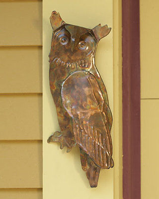 Nature Inspired Flamed Copper Hanging Owl,14.5''H.