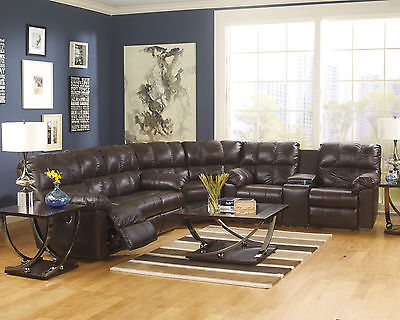 Kennard Contemporary Chocolate Tone Leather Match Upholstery Reclining Sectional