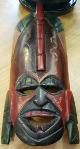African Handcrafted Painted Wood Tribal Mask, Kenya, African Tribal Mask