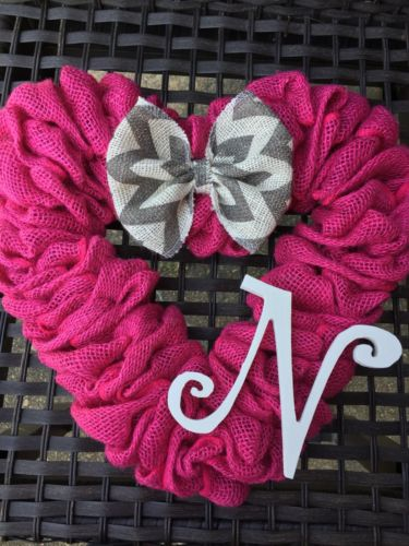 Handmade Heart Shaped Burlap Wreath