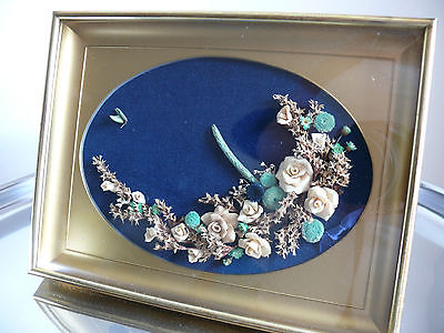 Hand Crafted Dough Flowers & Dried Flowers Framed Under Glass Victorian Feel