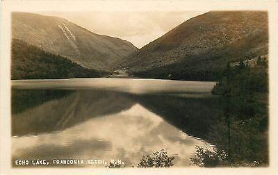 Early 1900s photo postcard Franconia Notch New Hampshire Echo Lake