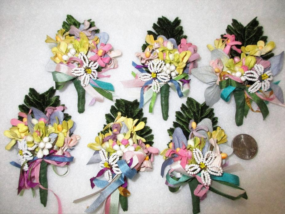 6 SMALL SIZE FLOWER FAVORS=TUSSY MUSSY=TINY CORSAGE=GIFT TOPPER