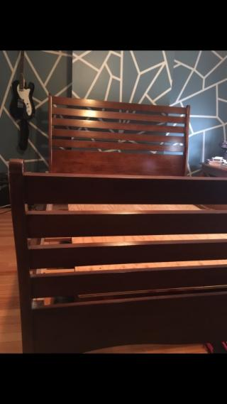 Queen Wooden sleigh style bed frame