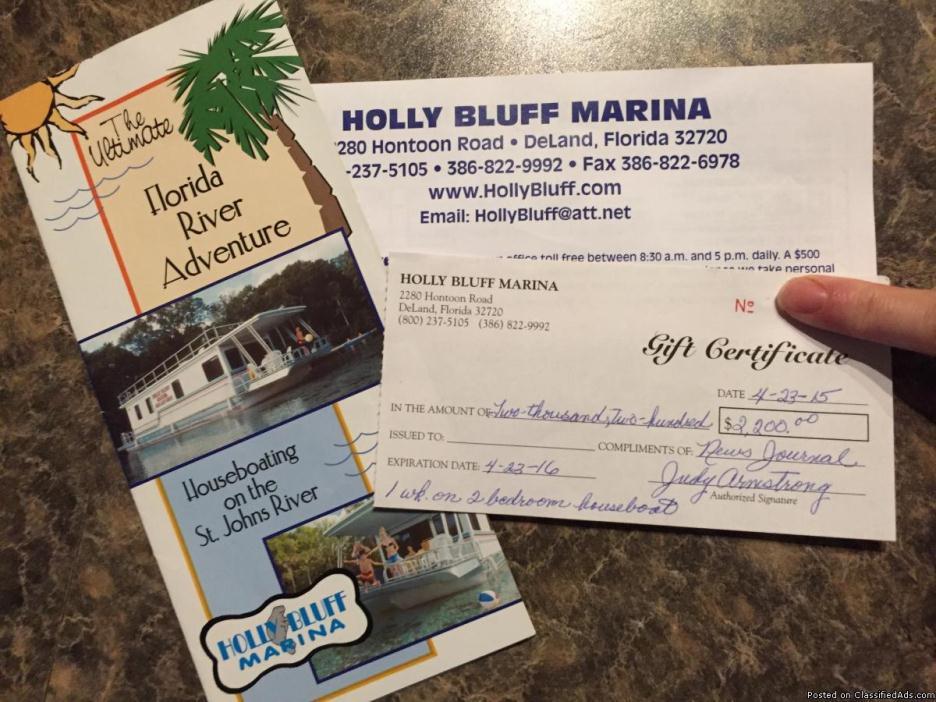 Houseboat rental gift certificate