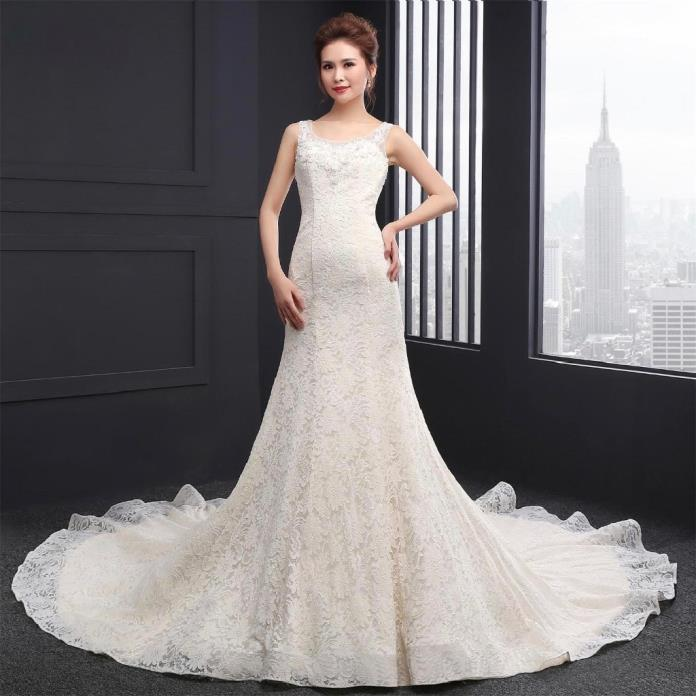 Maria's Mermaid Lace Sleeveless Wedding Gown