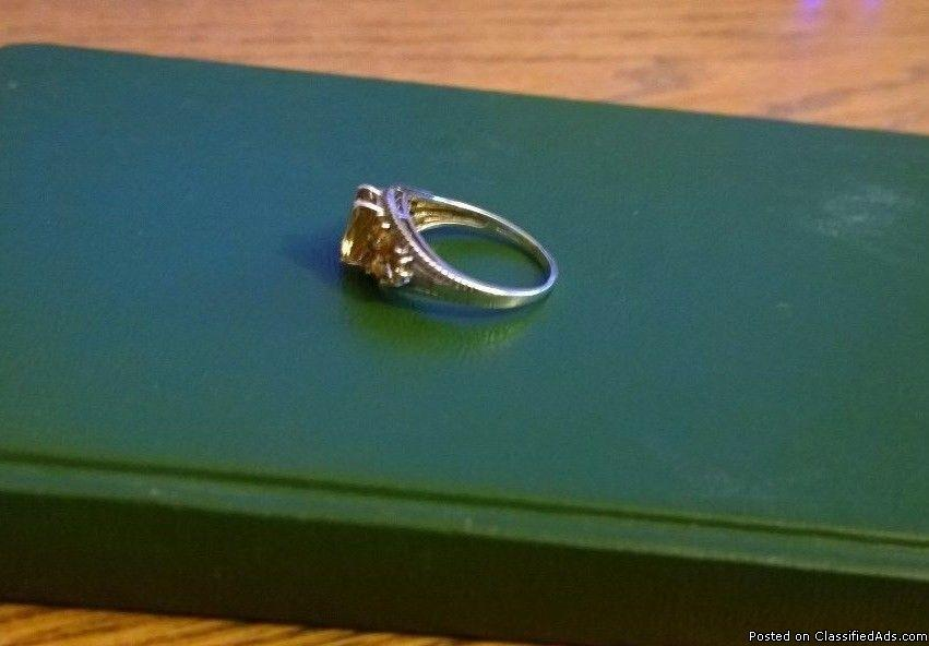 Estate Sterling Silver Citrine Ring , Sz 8.5, Prong Set - VERY nice!