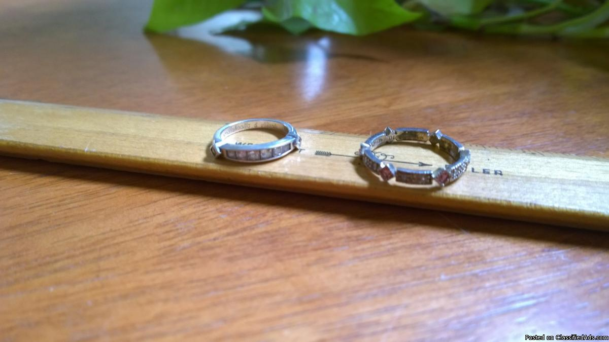 Sterling Silver Rings (2), Inset Crystal & Pink CZ (Avon), Cute!