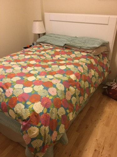 Bed w/ white headboard & full size mattress/boxspring