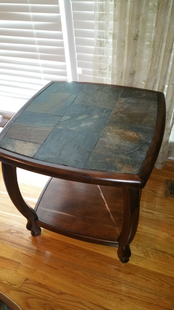 Two end tables coffee table and sofa table set wood with stone top