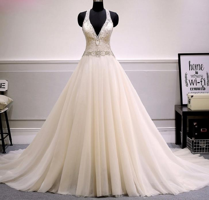 Grace's Tulle A Line Beading Halter Wedding Gown