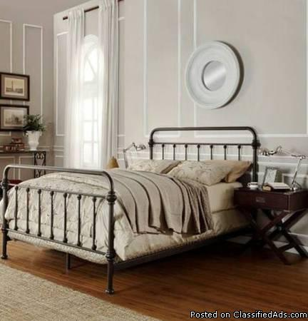 Queen vintage style new bed without mattress