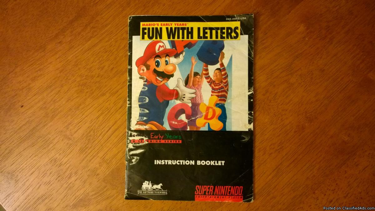 Mario's Early Years Fun with Letters Instruction Booklet Manual SNES