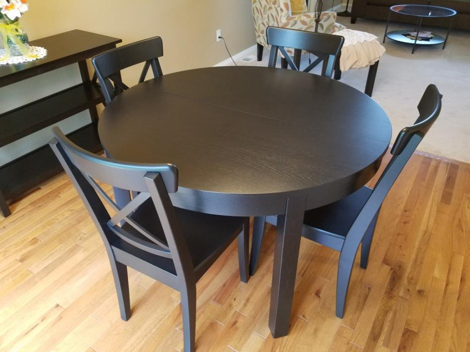 Dining table, chairs, side table