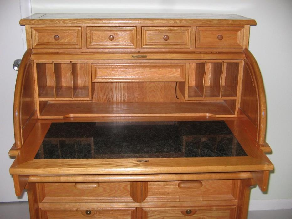 SOLID OAK and MARBLE ROLL TOP DESK