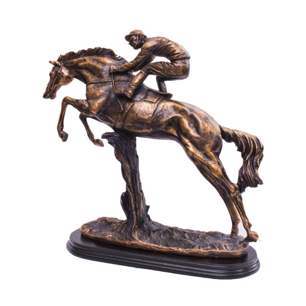 Racing horsing with rider , horse, bronze animal