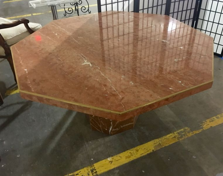 Octagonal Table Sienna Marble With Base From Italy