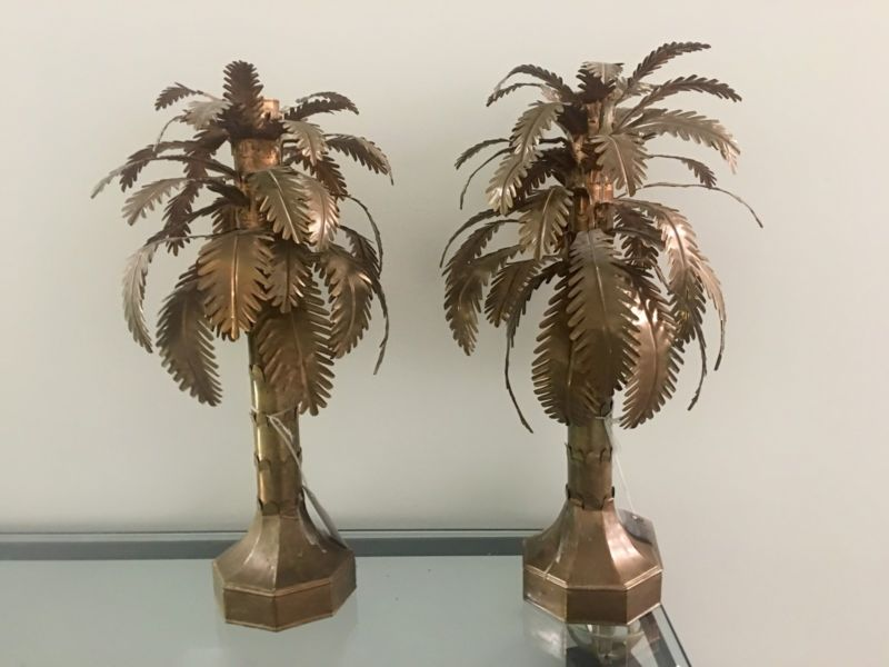 Copper Palm Tree Form Candle Holder
