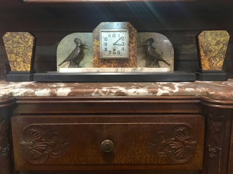 Art Deco Clock Set With Spelter Bird Accents On Sale