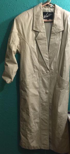 Winlit Beige/Tan Leather Trench Coat