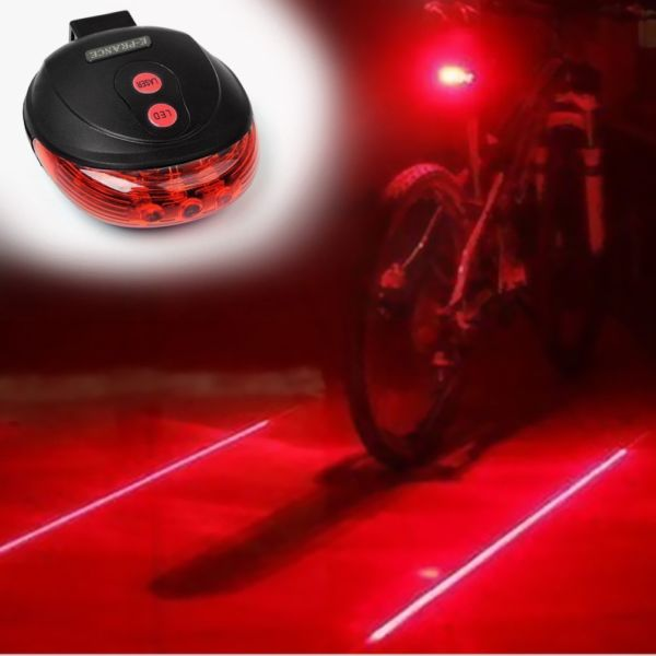 Bicycle LED Light 2 Lasers Night Cycling Bike Backlight $3.99