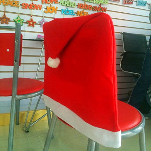 Lookatool® 1pcs Santa Red Hat Chair Covers Christmas Decorations Dinner Chair